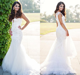Sparkling Tulle Wedding Dress Australia - Mermaid Lace Wedding Dresses 2019 Straps Deep V-Neck Beaded Backless Sweep Train Bridal Gowns Sheath Sparkling Tiered Tulle Modern New Gowns