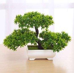 Toptan satış Yeşil / Sarı / Mor / Turuncu / Kırmızı Yapay Bitki Saksı Bonsai Sahte Bitki Ağaçları Ev Noel için