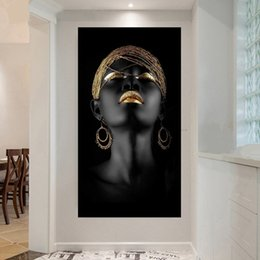 home decoration canvas prints Australia - 1 Piece Figure Canvas Painting Wall Art Pictures Decoration For Living Room Prints Black Woman On Canvas Home Decor No Framed
