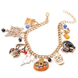 Festival jewelry online shopping - Cool Halloween Tassels Bracelet Punk Pumpkin Man Spider Ghost Crystal Enamel Pendant Bracelet Festival Gift Fashion Jewelry