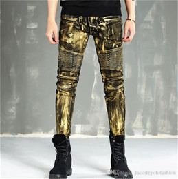 $enCountryForm.capitalKeyWord Australia - Mens Designer Jeans Fashion Light Metallic Luster Skinny Pencil Pants Zipper Fly Vintage Hemme Coated Jeans