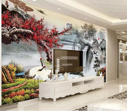 Kitchen Chinese Australia - Custom 3D Stereo Chinese plum blossom crane painting Photo Wallpaper Background Wallpaper Mural Painting Dining Room TV Mural