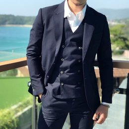 Plus Size Navy Blue Suit Australia - Navy Blue Men Suits Groom Tuxedos Beach Wedding Suits Custom Made Groomsmen Blazers 3 Pieces Jacket Pants Vest Double Breasted Evening Party