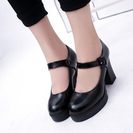 $enCountryForm.capitalKeyWord NZ - Shoes Casual Women Pumps 10cm High Thick Block Heel Platform Round Toe Patent Leather Party Lady Buckle Strap Mary Jane Pumps #L4