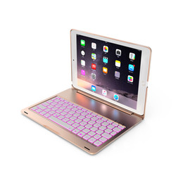 For Apple iPad 10.2 inch Tablet Luxury Aluminum Folio Bluetooth Keyboard Protective Case Stand Cover with 7 Color Adjustable Backlit on Sale