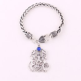 $enCountryForm.capitalKeyWord Australia - Antique Silver Three Bird and Horse Welsh Goddess Charm Colourful Crystal Animal Amulet Religious Wheat Chain Bracelet