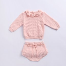 Wholesale New spring and autumn new styles Baby kids cute soild color long sleeve Ruffles Collar Knitting Shirt Short sets Sweater