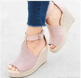 05949a912ea Free shipping hot Women Peep Toe Wedges Sandals Lady Buckle Strap Platform Sandals  Espadrille Pumps Sandal Wedge Casual Platform Shoes XW38. NZ 55.40 ...
