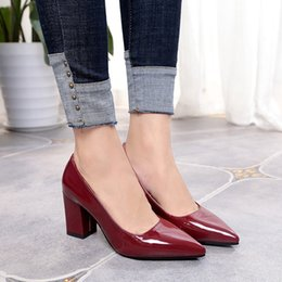 ce3054ac3fb Designer Dress Shoes Pointed thick heel with high heel 7 cm new single female  autumn shallow mouth small size 33-34 large size 40-43