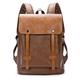Luggage & Bags New England Style Crazy Horse Pu Leather Tudents School Backpack Men Casual Rucksack Laptop Notebook Backpack Vintage Brown Backpacks