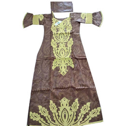 Discount african wedding dresses bazin MD gold embroidery dresses for women short sleeve bazin dress 2019 wedding party dress traditional south african women&#