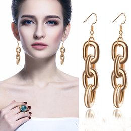 $enCountryForm.capitalKeyWord Australia - European and American personality exaggerated metal texture chain long series gold earrings jewelry wholesale