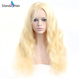 blonde body wave full lace UK - Nice Cheap #613 Blonde Body Wave Remy Human Hair Lace Front Full Lace Hair Wigs For Women Free Shipping