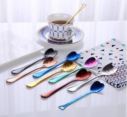 Wholesale Hollow Out Heart Shaped Spoon Styles Stainless Steel Creative Coffee Tea Dessert Stirring Spoon Ice Cream Honey Kitchen Spoons OOA6042