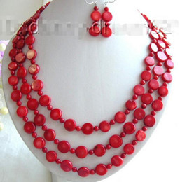 """$enCountryForm.capitalKeyWord Australia - Prett Lovely Women's Wedding Genuine 24"""" 3strands 12mm red coral beads necklace earring set mujer brincos for jewelry"""