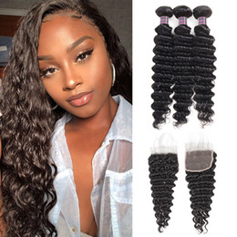 Discount color weaving hair - Brazilian Virgin Hair Deep Wave 3 Bundles With 4x4 Lace Closure Unprocessed Virgin Hair Extensions Indian Human Hair Bun