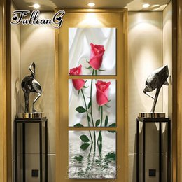 """$enCountryForm.capitalKeyWord Australia - wholesale diy 3 pieces diamond painting """"red rose flowers"""" triptych mosaic cross stitch 5d embroidery full square drill G1288"""