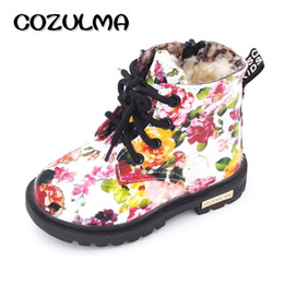 baby floral boots UK - COZULMA Kids Winter Plush Snow Boots for Girls Boys Floral Flower Print Martin Boots Children Ankle Boots Baby Toddler Shoes Y200104