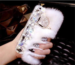 rhinestone cell phone cases 5s UK - Luxury Rabblit Fur Diamond Fox Rhinestone Cell Phone Case For xiaomi Redmi 5A 5X 6 Por Note MIX2 2S MAX 2 5 5S plus 8 8SE Capa