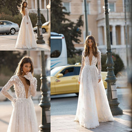 T shirTs waTer drops online shopping - Berta Modest Long Sleeve Wedding Dresses Lace D Floral Flowers lace Plunge V Neck Backless Sexy Garden Bridal Gowns