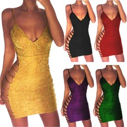 $enCountryForm.capitalKeyWord Australia - Womens Dresses 2019 Summer New Sexy V-neck Tight Skirt Fashion Strap Mini Skirt Nightclub Style Sequined Short Skirt 5 Colors S-2XL