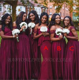 MerMaid style plus size bridesMaid dresses online shopping - Latest Burgundy Long Bridesmaid Dress Popular Mixed Styles Mermaid Appliques Sequins Long Maid of Honor Gowns Plus Size