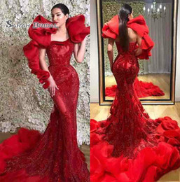 Wholesale pink summer maxi dresses for sale – plus size Red African Saudi Arabia Wear Mermaid Prom Celebrity Dresses Satin Maxi Dress Vestidos de gala Elegant Long Evening Formal Party Gown