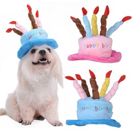 Wholesale 1 X Pet Dog Birthday Hat Lovely Pink blue Cake Shape With Candle Pets Cloth Puppy Cats Hat Has Adjust Strap