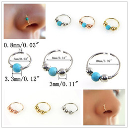 gold hoop nose piercing UK - Retro Round Beads Nose Ring Stud Ear Nostril Hoop Body Rose Gold Silver Piercing Jewelry 6mm 8mm 10mm