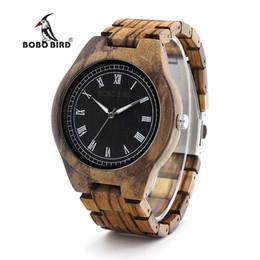 Discount zebra tools - BOBO BIRD WO18O19 Wood Watch Ebony Zebra Wooden Watches for Men White Roman Number Quartz Watch with Tool for Adjusting