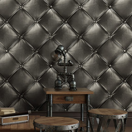 leather living room wallpaper NZ - Luxury Deep Embossed Faux Leather 3D Wallpaper For Wall Living room Black Wall Paper Roll Background Wallcoverings KTV store