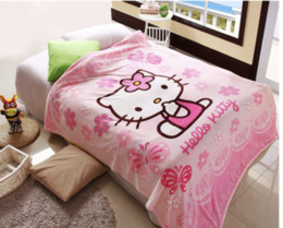 hello bedding Canada - NEW Kawayi Hot Selling 1lot 10pcs Flannel Steward Cartoon Hello Kitty Blanket Big Size 150*200cm bed sheet for Girls child Office Baby Gift