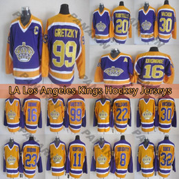 wayne gretzky yellow jersey Australia - Mens LA Los Angeles Kings 99 Wayne Gretzky 16 DIONNE 20 ROBITAILLE Jeff Carter Home Away CCM Yellow purple Hockey Jerseys