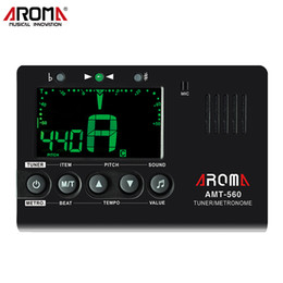 guitar tuner aroma NZ - Aroma Guitar Tuner Electric Tuner Metronome AMT-560 Built-in Mic with Pickup Function for Guitar Chromatic Bass Violin Ukulele
