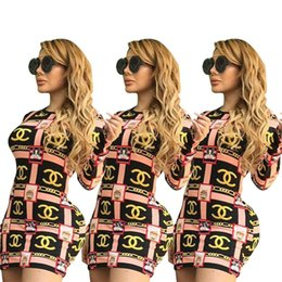 sexy clothes sold wholesale Australia - Women Sexy Mini Dresses Night Club Skirts Long Sleeve Crew Neck Fashion Print Designer Party Clothing Summer HOT Selling 1395