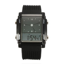 Wholesale AAAE Flash Dual Time LCD Digital Date Day Alarm LED Men Boys Sport Wrist Watch Gift