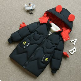 down parkas for kids NZ - Kids Girls Jacket Autumn Winter Jacket For Girls Coat Baby Warm Hooded Outerwear Coat Girl Mickey Clothing Children Down Parkas