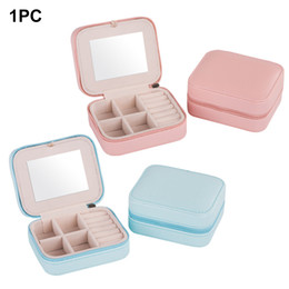 stud organizer box NZ - New Women Storage Mini Stud Ring Jewelry Box Travel Zipper Holder Organizer With Mirror Earring Portable Carry Case