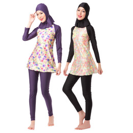 muslim clothing black UK - Code-HW 10A Women's Islamic clothing Muslim swimsuit Middle East lady's a three-piece suit consists of cap, jacket and pant woman's swimwear