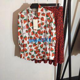 $enCountryForm.capitalKeyWord Australia - high-end women girls luxury dress set t-shirt strawberry leopard print long sleeve lapel neck top tee blouse midi a-line pleated short skirt