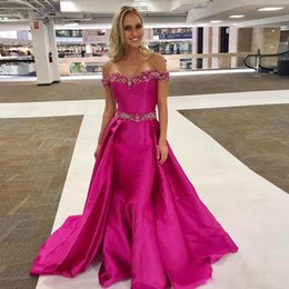 $enCountryForm.capitalKeyWord Australia - Fuschia Mermaid Evening Dresses with Overskirts Custom Made Beaded Off Shoulder Pageant Party Prom Gowns Long Sweep
