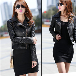 Faux red leather skirts online shopping - Autumn Zipper Motorcycle Jacket Women Short Faux Soft Womens Leather Jacket PU Black Red Leather Jacket Ladies Basic Street Coat T190907