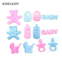 wholesale christening decorations UK - 50PCS Baby shower girl boy favor party decoration candy box accessory scrapbook embellishment diy craft baptism gift christening