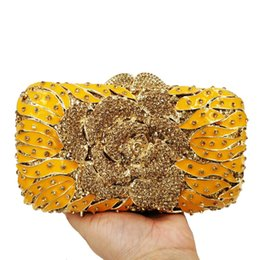 flower clutch bags NZ - Fashion Flower Yellow Evening Bag Women Party Purse Green sparkly Bridal Clutch Bag Ladies Day Clutches