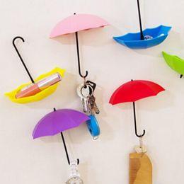 $enCountryForm.capitalKeyWord Australia - 3 Pcs Set Creative Umbrella Shaped Strong Hooks Key Hanger Rack Holders Hook Seamless Wall Adhesive Hooks Color Random