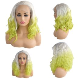 $enCountryForm.capitalKeyWord NZ - Factory price 1pc Women Fashion Lady Gold+Green Curly Full Lace Wigs Lace Front Net Hair 14 inches Wigs Stand Stocked Feb20
