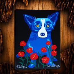 $enCountryForm.capitalKeyWord Australia - Blue Dog A Chorus Line of Flowers,1 Pieces Canvas Prints Wall Art Oil Painting Home Decor (Unframed Framed) 24X32.