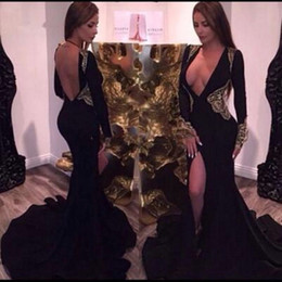 $enCountryForm.capitalKeyWord NZ - Sexy Black Mermaid Evening Dresses Deep V Neck Sweep Train Backless Slits Prom Dresses With Gold Appliques Elegant Long Sleeve Party Gowns