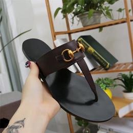 $enCountryForm.capitalKeyWord Australia - Women Designer Genuine Leather Shoes Luxury Slide Summer Fashion Flat Slippery Slipper Flip Flop lady's Sandals