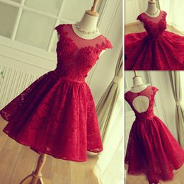$enCountryForm.capitalKeyWord Australia - 2019 Modest Red Lace Prom Dresses Short Mini Skirt Sheer Neck Tulle Appliques Graduation Homecoming Party Gowns Vestidos De Fiesta Cortos